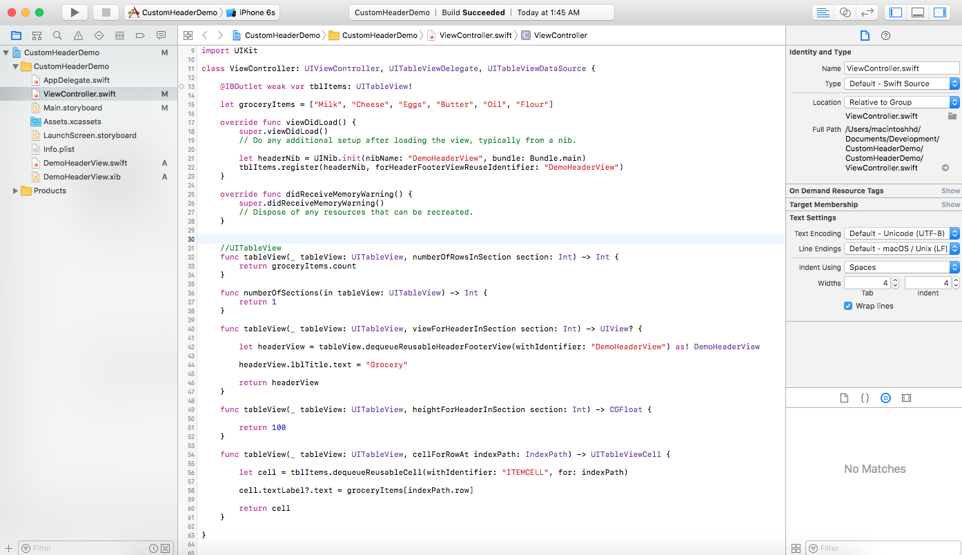 uitableviewheaderfooterview xcode swift